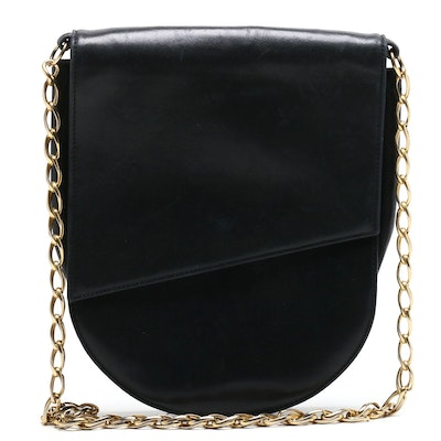 Gianni Versace Couture Black Leather Shoulder Bag with Chain Link Strap
