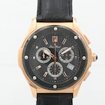 Lucien Piccard Rose Gold Tone Quartz Chronograph Wristwatch