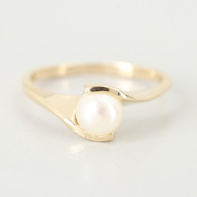 10K Yellow Gold Cultured Pearl Bypass Ring