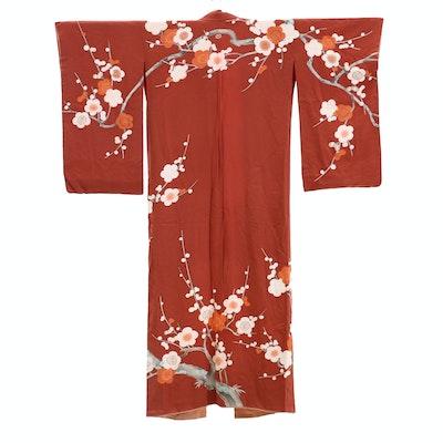 Rust Silk Damask Crested Kimono and Brocade Sash, circa 1960