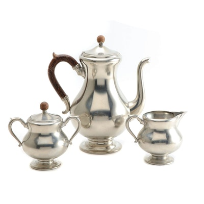 Royal Holland Pewter Teapot, Creamer and Sugar Bowl, Mid-Century