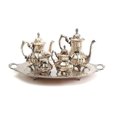 "Poole ""Lancaster Rose"" Silver Plate Tea and Coffee Service with Waiter Tray"