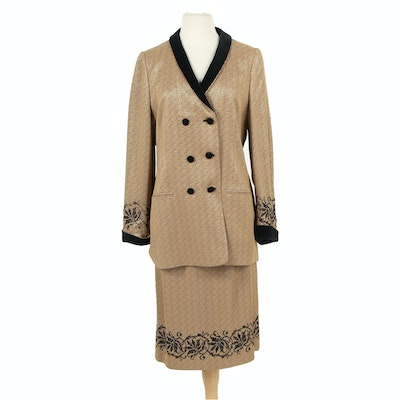 Louis Féraud Rayon Blend Double-Breasted Skirt Suit, Vintage