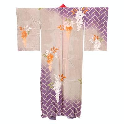 Silk Damask Crested Kimono with Hand-Painted Details and Silk Sash, circa 1960s