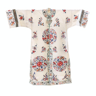 Chinese Embroidered Silk Robe, 1960s