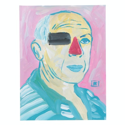 """Francois Aguiard Acrylic Painting """"Pablo Picasso"""""""