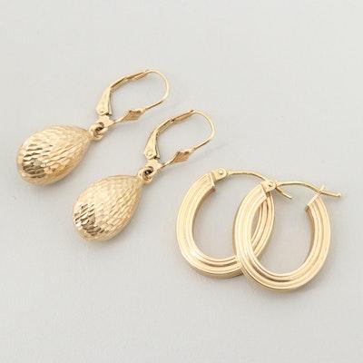 14K Yellow Gold Hoop and Dangle Earrings