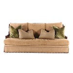 Marge Carson Velveteen Upholstered Sofa with Decorative Pillows