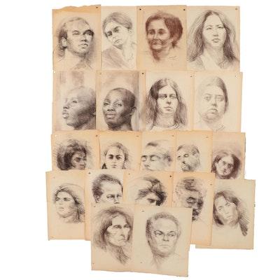 Shirley Resnick 1991-2000 Charcoal Portraits Studies