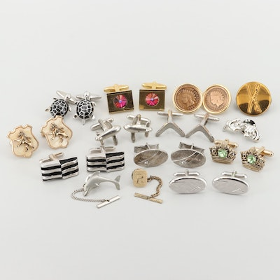 Silver and Gold Tone Imitation Stone and Enamel Cufflinks With Indian Head Cents