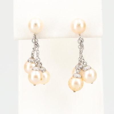 Vintage 14K White Gold Cultured Pearl Dangle Earrings