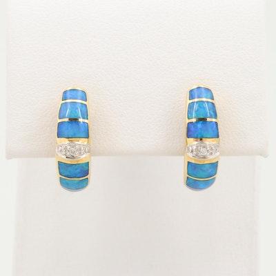 18K Yellow Gold Diamond and Opal Doublet Inlay J-Hoop Earrings