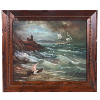 Towoella Seascape Oil Painting with Light House and Clipper Ship