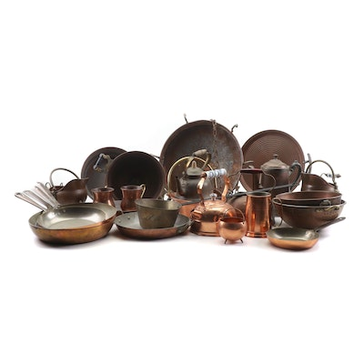 Coppercraft Guild, Baumlin and Other Copper Kitchenware with Hanging Rack