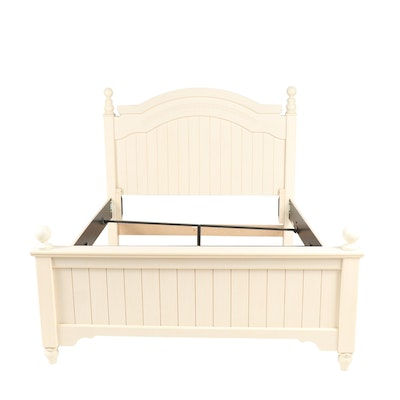 Contemporary Ashley Furniture Painted Wooden Wainscot Queen Size Bed