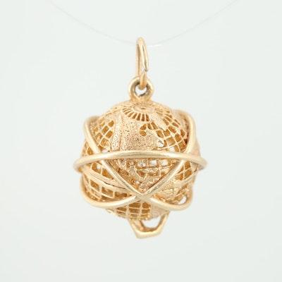 14K Yellow Gold Armillary Globe Pendant