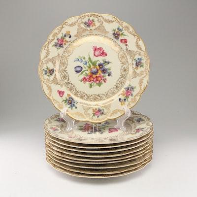 Royal Bayreuth Porcelain Dinner Plates, Mid-Century