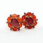 Sterling Silver 3.80 CTW Ruby and 2.16 CTW Fire Opal Earrings with Gold Wash