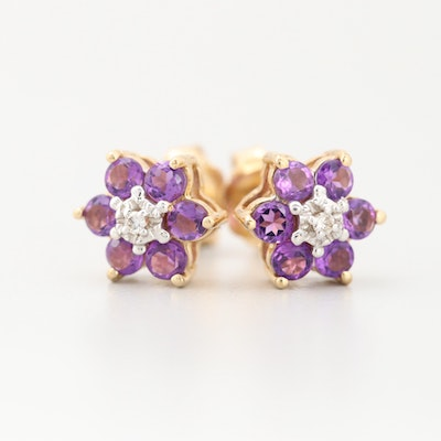 14K Yellow Gold Diamond and Amethyst Floral Stud Earrings