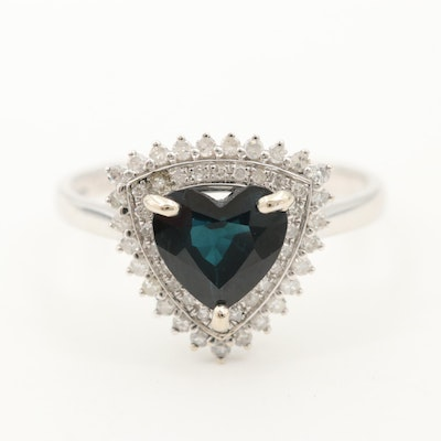 14K White Gold Sapphire and Diamond Double Halo Heart Ring