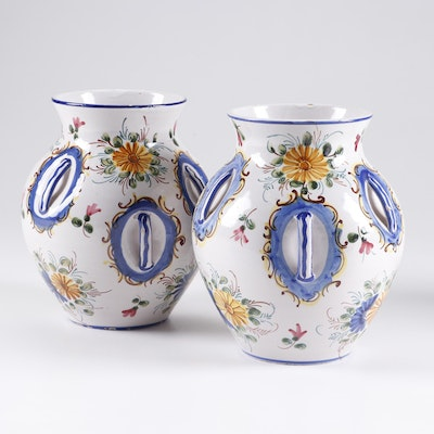 Hand-Painted Italian Faïence Earthenware Vases with Inset Handles