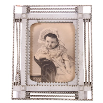 Early 20th Century Tramp Art Frame with Crayon Portrait
