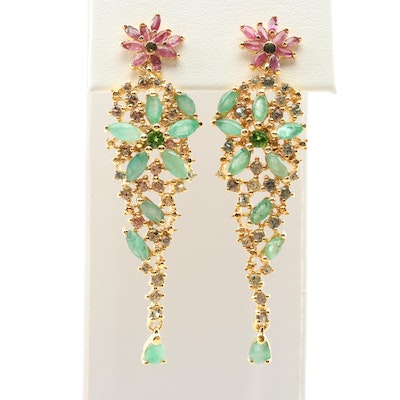 Sterling Silver Multi-Gemstone Dangle Earrings with Gold Wash