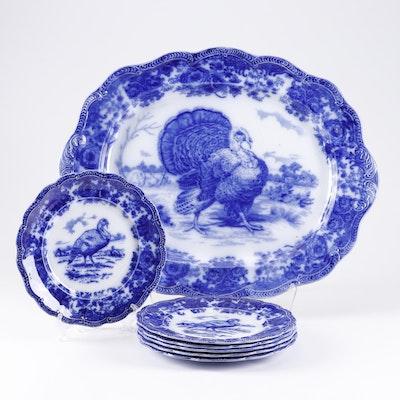 "Ridgways ""Turkey"" Flow Blue Platter and Plates, 1891-1920"