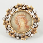 Victorian 14K Yellow Gold Diamond and Cultured Pearl Portrait Miniature Brooch