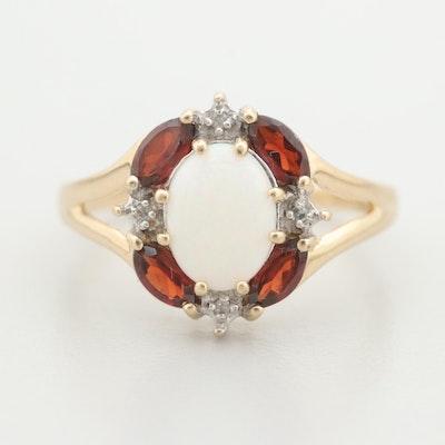 Alwand Vahan 10K Yellow Gold Opal, Garnet, and Diamond Ring