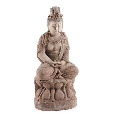 Chinese Polychrome Carved Wood Buddha Statue