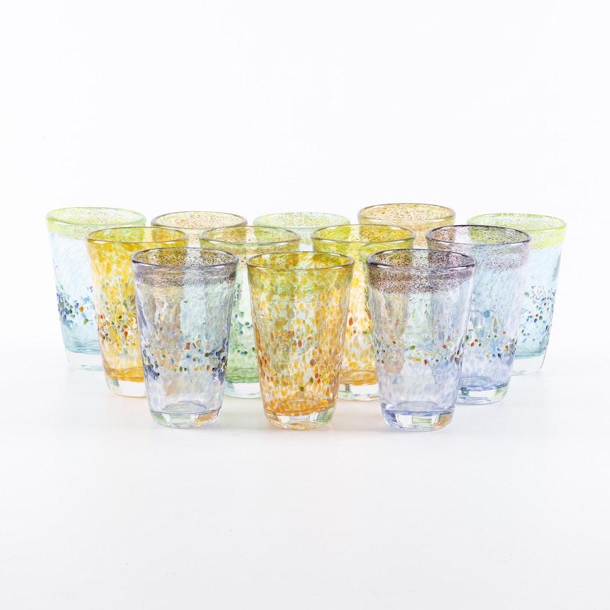 Multi-Color Blown Glass Tumblers, Late 20th Century