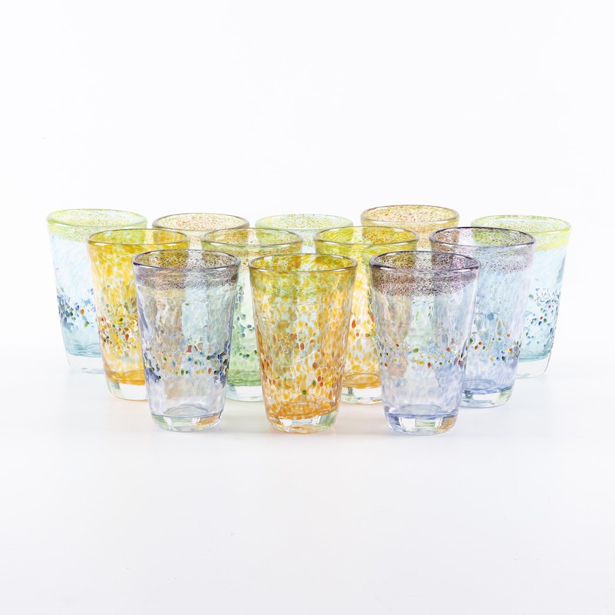 Multi-Color Blown Glass Tumblers, Late 20th Century