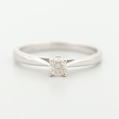 14K White Gold Synthetic Diamond Solitaire Ring