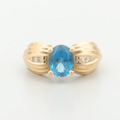 14K Yellow Gold Topaz and Diamond Ring