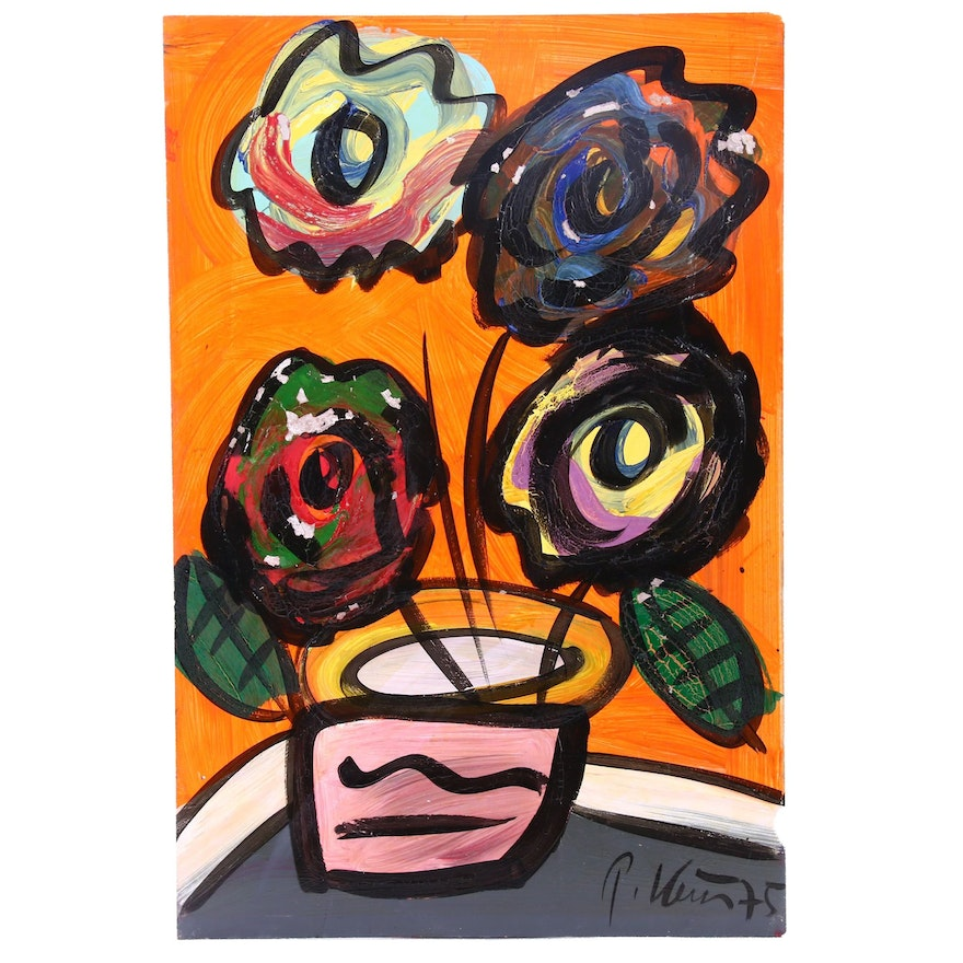 Peter Keil Abstract Still Life Oil Painting of Flowering Plant