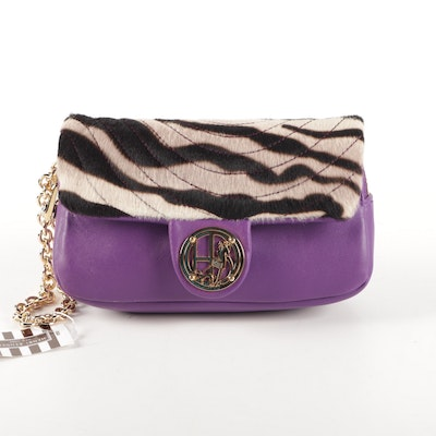 Henri Bendel Purple Leather and Dyed Calf Hair Wristlet Clutch with Chain Strap