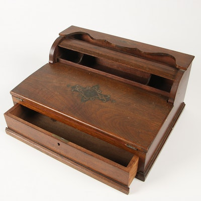 Victorian Walnut Roll Top Lapdesk with Transfer Decoration, 19th Century