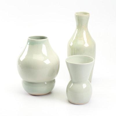 Chinese Celadon Glazed Slip Cast Earthenware Vases