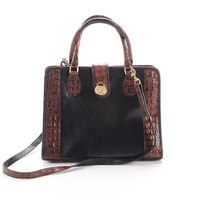 Brahmin Two-Tone Croc Embossed Leather Convertible Shoulder Bag