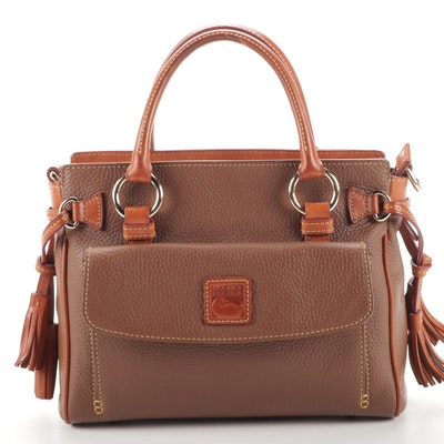 Dooney & Bourke Brown Pebbled Leather Satchel with Tassels