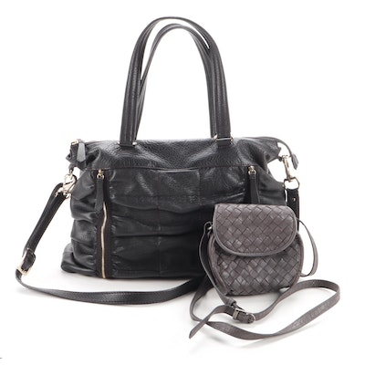 Cole Haan Pebbled Leather Tote and Coldwater Creek Woven Mini Crossbody Bag