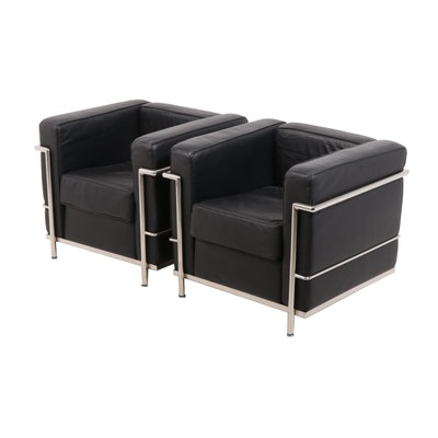 Le Corbusier Style Modern Leather Upholstered Club Chairs