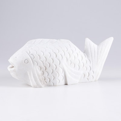Carved Marble Fish Form Sculpture