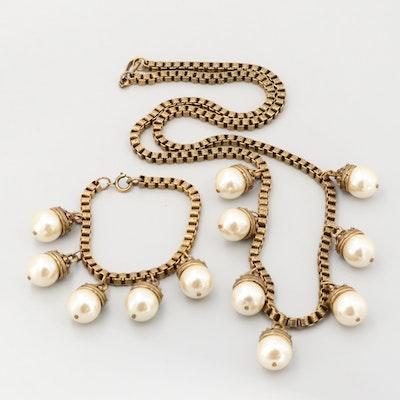 Vintage Victorian Style Imitation Pearl Necklace and Bracelet Set