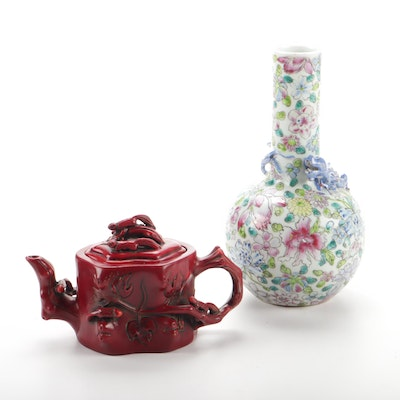 Chinese Porcelain Vase and Imitation Cinnabar Teapot
