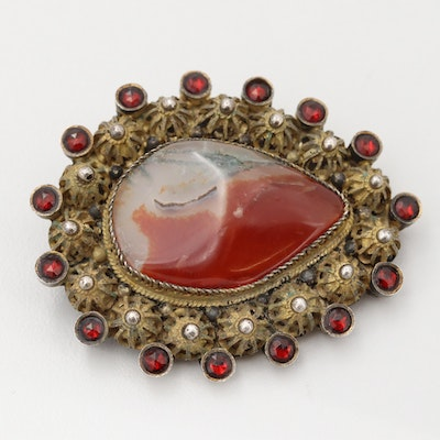 Vintage 935 Silver Agate and Faceted Glass Brooch