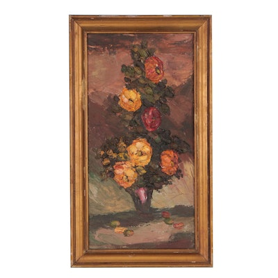 Mid 20th Century Floral Oil Painting