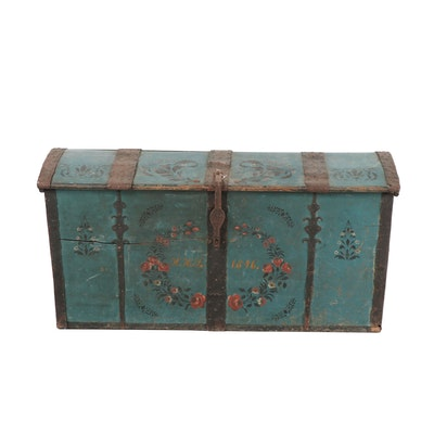 Swedish 1846 Wooden Chest with Floral Designs
