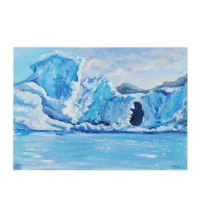 """Galitsina Acrylic Painting """"Arctic Seascape"""""""